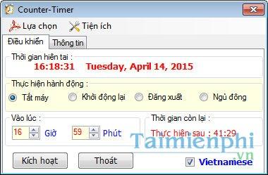 Giao diện phần mềm tắt máy Counter-Timer 1.0